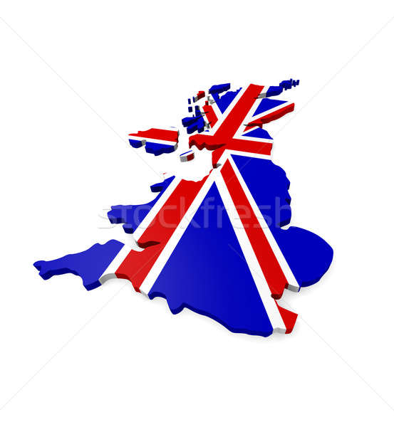 Großbritannien 3D Karte weiß blau Reise Stock foto © andreasberheide