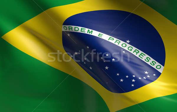 Сток-фото: флаг · Бразилия · 3D · дизайна · фон