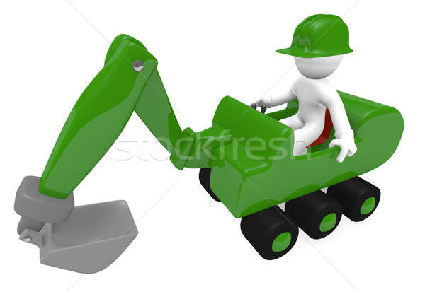 Green digger with construction worker Stock photo © andreasberheide