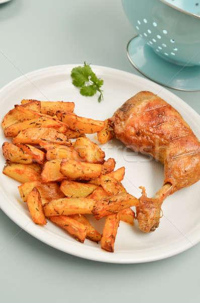 ストックフォト: 鶏 · ジャガイモ · 白 · プレート