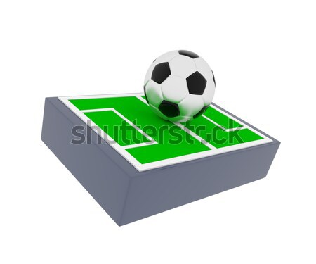 Soccer field with a ball, 3d render Stock photo © andreasberheide