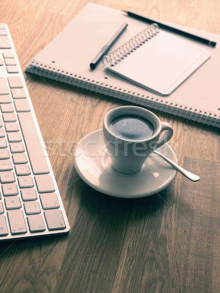 Estilo escritório tabela café expresso Foto stock © andreasberheide