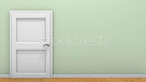 Klasszikus szoba fehér ajtó zöld fal Stock fotó © andreasberheide