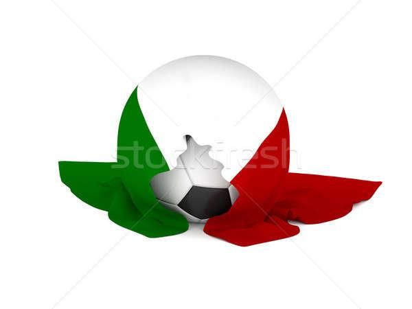 Piłka italian flag piłka nożna mistrzostwo 3D Zdjęcia stock © andreasberheide