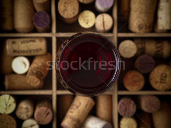 üveg vörösbor felső kilátás üveg fából készült Stock fotó © andreasberheide