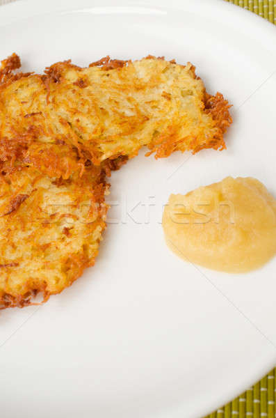 Potato fritters with applesauce Stock photo © andreasberheide
