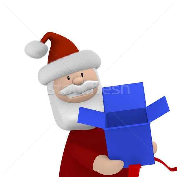 Azul caja de regalo funny abierto blanco Foto stock © andreasberheide