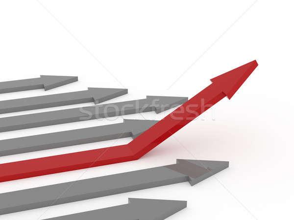 Rot Aufgang arrow weiß 3D Rendering Stock foto © andreasberheide