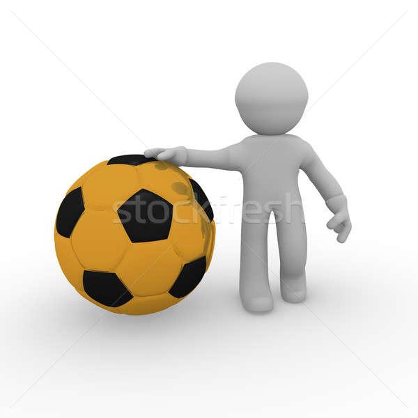Foto stock: Dorado · balón · de · fútbol · hombre · 3d · blanco · fútbol · fondo