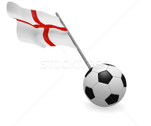 Angol zászló futballabda zászló Anglia fehér fekete Stock fotó © andreasberheide
