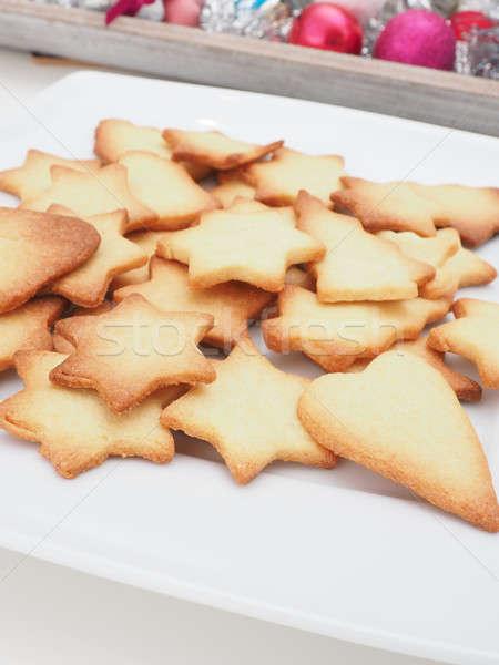 édes karácsony sütik fehér tányér textúra Stock fotó © andreasberheide