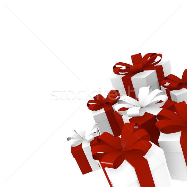 Vermelho branco caixas de presente arco 3D Foto stock © andreasberheide