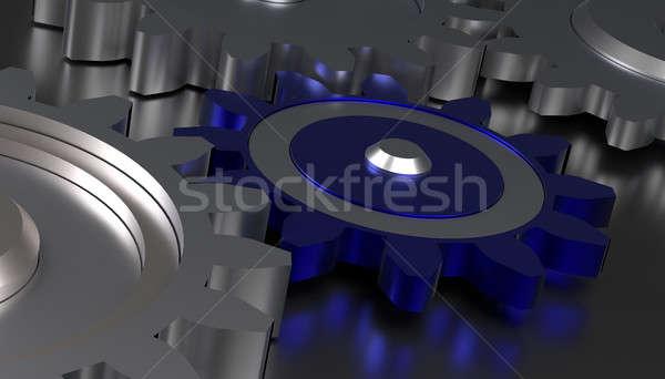 Cog Räder Teamarbeit blau ein Mitte Stock foto © andreasberheide