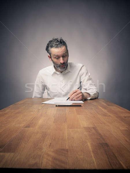 ストックフォト: クレイジー · ビジネスマン · 作業 · 作業 · 木製 · オフィス