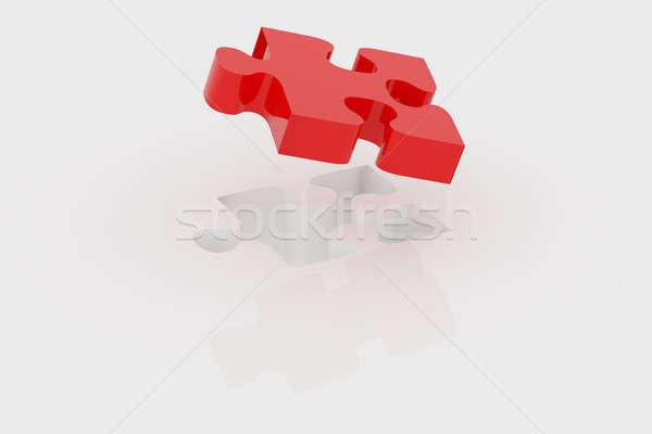 Piros darab puzzle üzlet 3D renderelt kép Stock fotó © andreasberheide