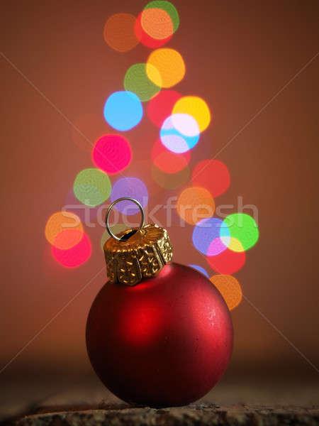Stock foto: Weihnachten · rot · Spielerei · Holztisch · verschwommen