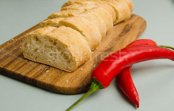 багет Ломтики два древесины хлеб обеда Сток-фото © andreasberheide