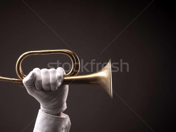 Mão velho trombeta branco luvas Foto stock © andreasberheide