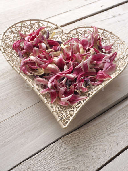 Heart shape with leaves of tulips Stock photo © andreasberheide