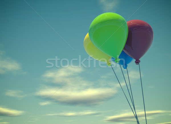 Vier kleurrijk ballonnen zomer hemel blauwe hemel Stockfoto © andreasberheide