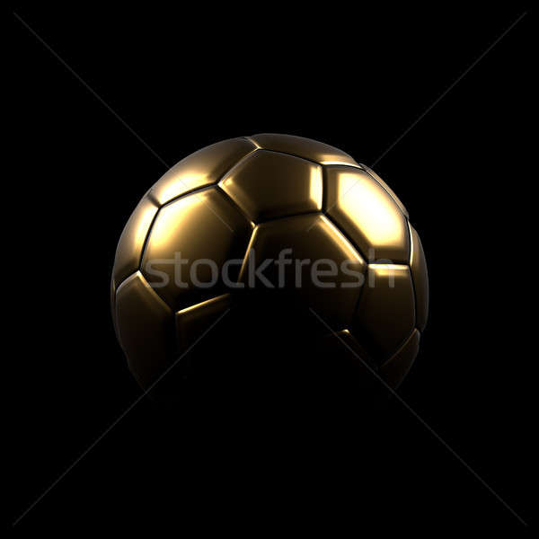 Altın futbol topu siyah parlak 3D Stok fotoğraf © andreasberheide