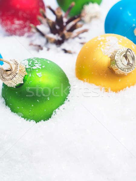 Karácsony hó színes szezonális űr szöveg Stock fotó © andreasberheide