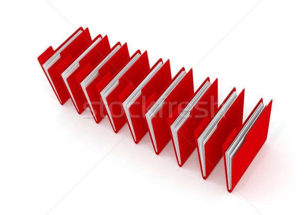Piros mappa fehér 3D renderelt kép csetepaté Stock fotó © andreasberheide