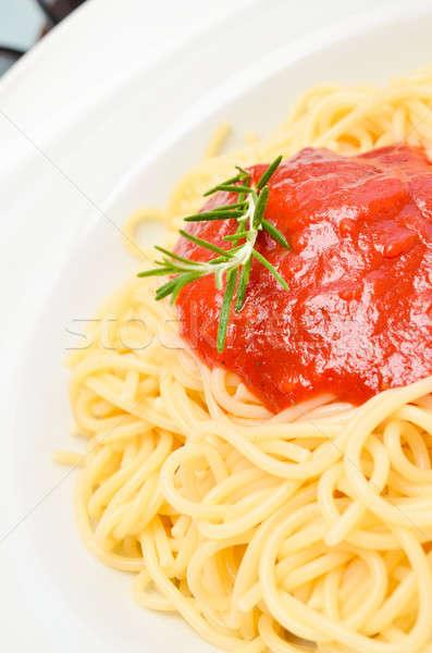 スパゲティ トマトソース ローズマリー 小枝 葉 ストックフォト © andreasberheide