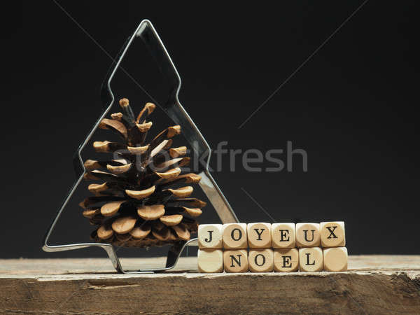 Stock photo: French words Merry Christmas on wooden dices