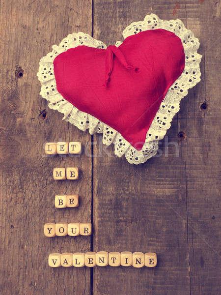Ahşap kalp şekli bağbozumu renk rustik sevmek Stok fotoğraf © andreasberheide
