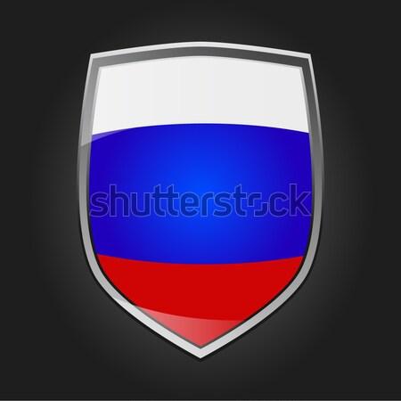 Schild vlag Rusland ontwerp glas metaal Stockfoto © andreasberheide