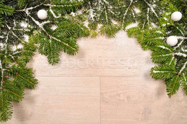 Noel yeşil kar ahşap ağaç ahşap Stok fotoğraf © andreasberheide