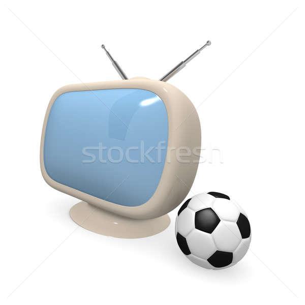 Retro televiziune minge de fotbal 3D alb Imagine de stoc © andreasberheide