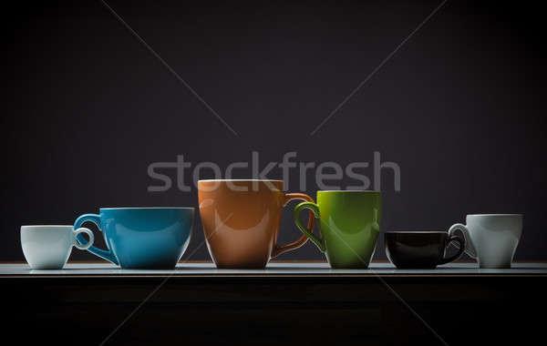 Kávé idő válogatás különböző kávéscsészék asztal Stock fotó © andreasberheide