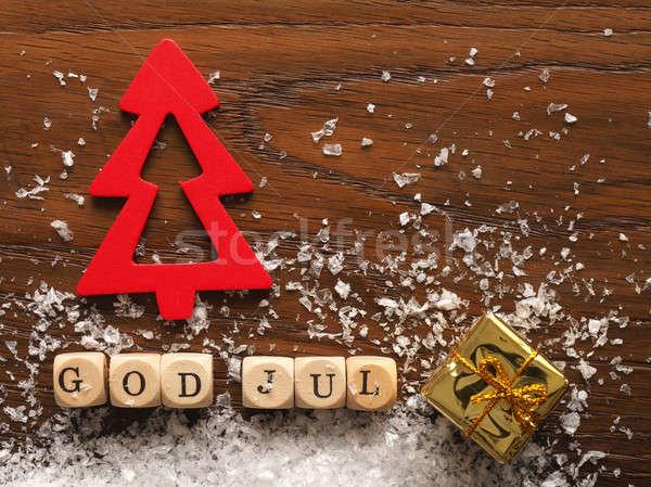 Karácsony szavak Isten vidám fa hó Stock fotó © andreasberheide