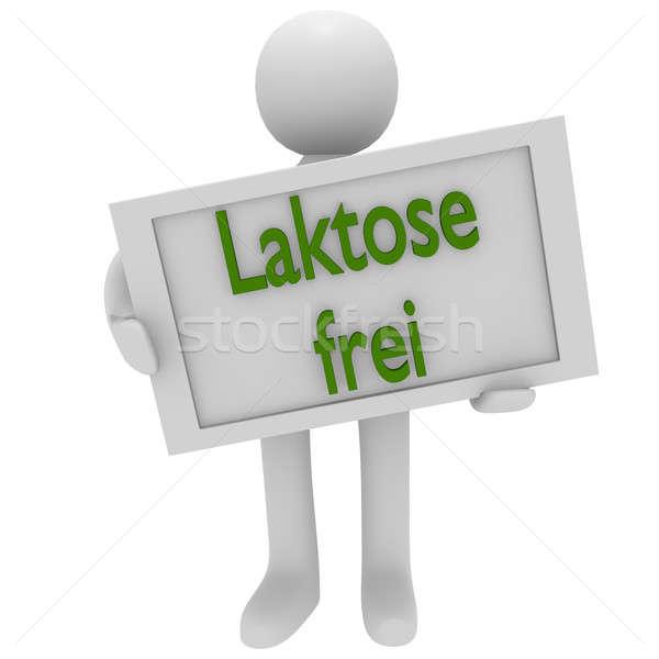Lactose livre o homem 3d assinar cartas comida Foto stock © andreasberheide