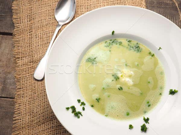 奶油 湯 豌豆 鄉村 木桌 食品 商業照片 © andreasberheide