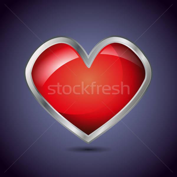 Glossy metal heart shape Stock photo © andreasberheide