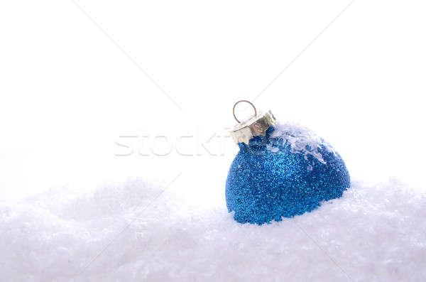 Blauw christmas snuisterij sneeuw witte bal Stockfoto © andreasberheide