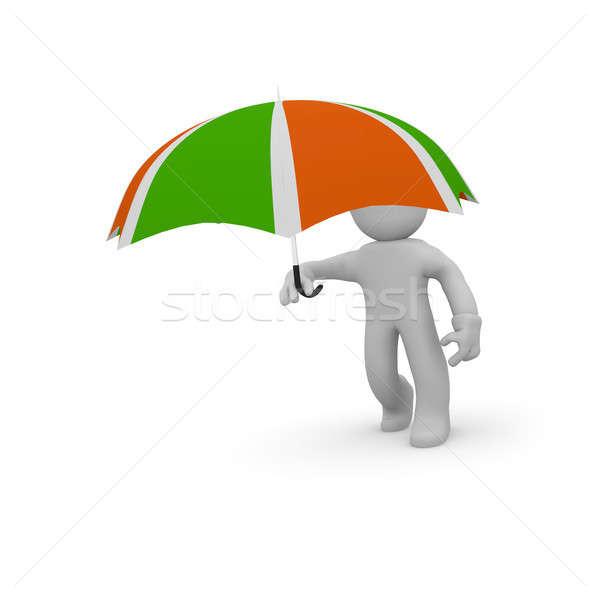 3D karakter paraplu klein witte Stockfoto © andreasberheide