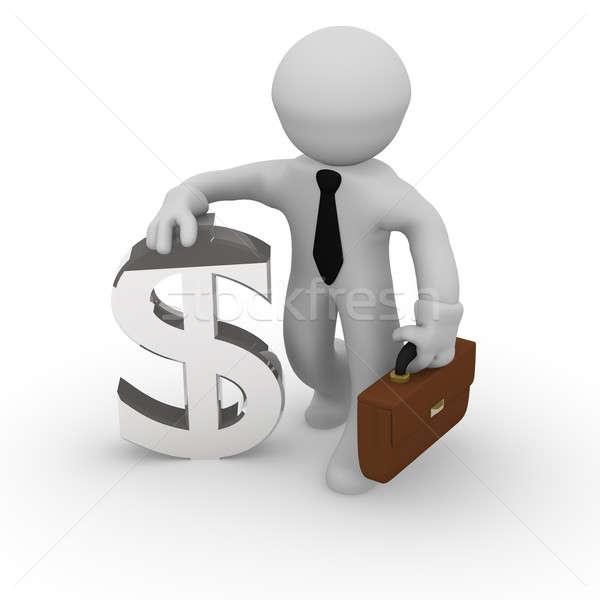 Foto stock: Dinero · 3D · hombre · de · negocios · dólar · icono · fondo