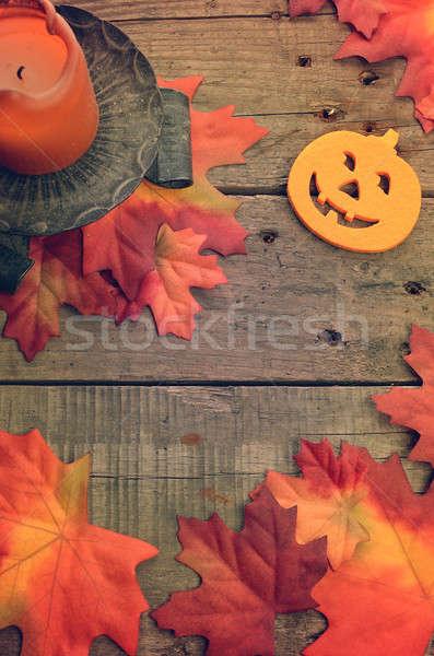 Halloween pompoen kaars rustiek houten tafel hout Stockfoto © andreasberheide