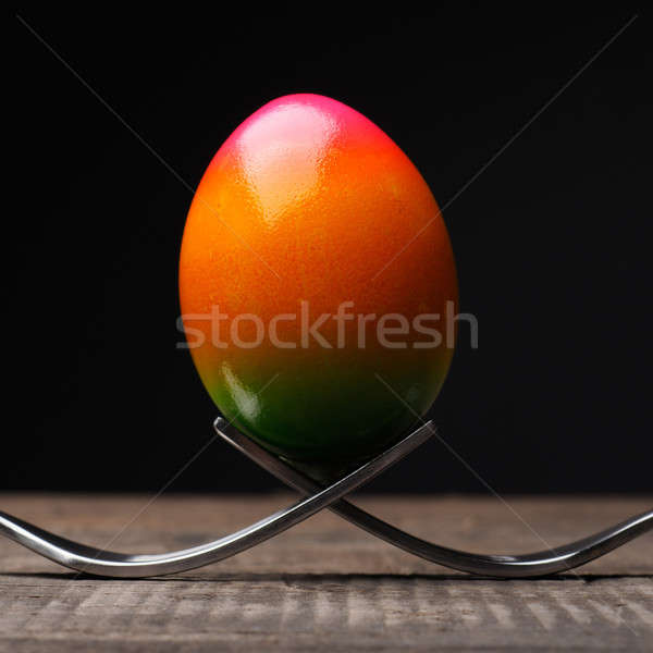 Rainbow colored Easter egg Stock photo © andreasberheide