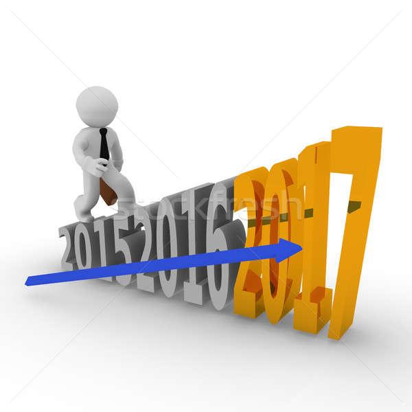 3D objetivo alto escaleras pequeño empresario Foto stock © andreasberheide