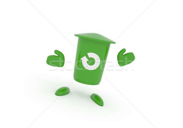 Green garbage bin on white Stock photo © andreasberheide