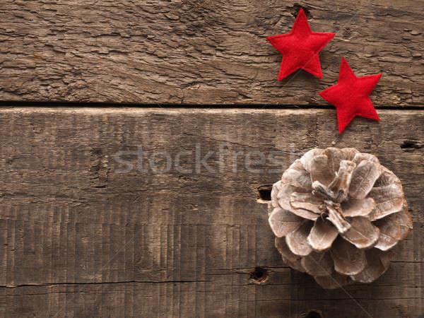 Christmas top decoratie rustiek houten tafel Stockfoto © andreasberheide