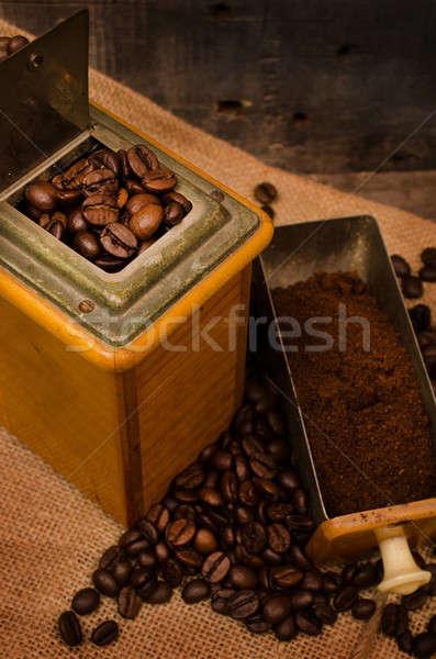 Kahve değirmen fasulye eski kahve çekirdekleri çanta Stok fotoğraf © andreasberheide