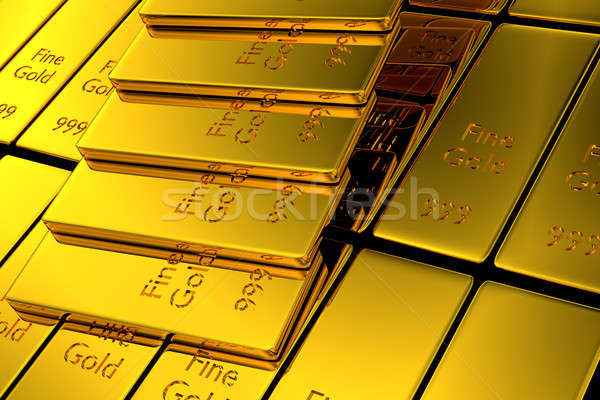 Gold stair, upswing and aim high concept, 3d rendering Stock photo © andreasberheide