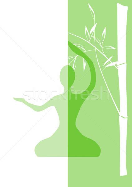 Spirituális bambusz szobor virág absztrakt terv Stock fotó © andreasberheide
