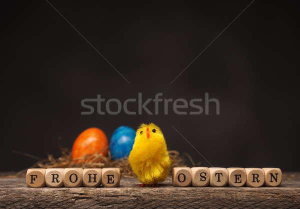 Kellemes húsvétot húsvét aranyos tyúk szó fából készült Stock fotó © andreasberheide